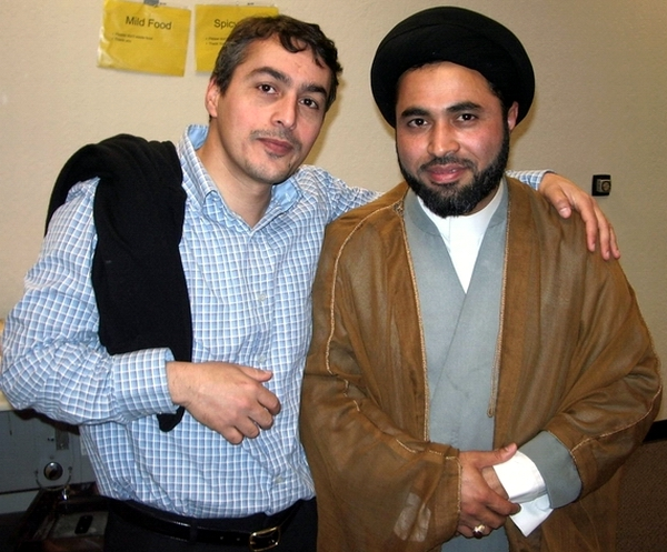 Ali Fawaz, left, and the extremist Judeophobic Khomeinist mullah Nabi Raza Abidi (a.k.a Nabi Raza Mir) at the center of Shia Association of Bay Area (Saba Mosque of San Jose) ― Photo by Sam Bazzi, The Islamic Counterterrorism Institute.